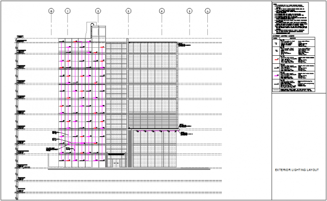 Lighting layout elevation of building with its legend dwg file