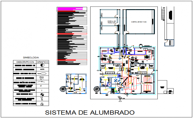 Lighting system for industrial canal view with electrical view dwg file