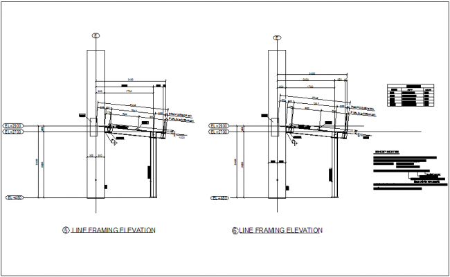Line framing elevation view with beam and column view dwg file