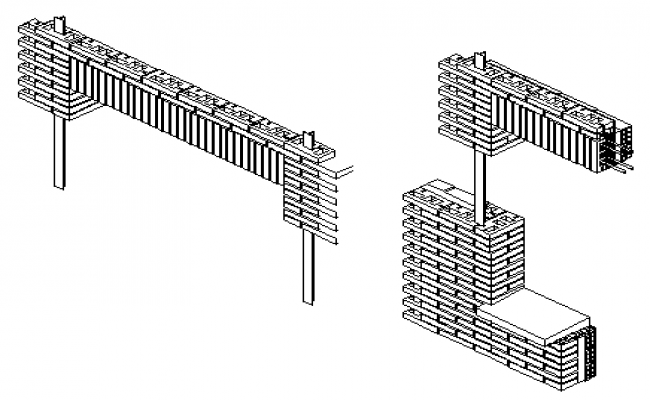 Lintel of bricks design drawing with Isometric view  design drawing