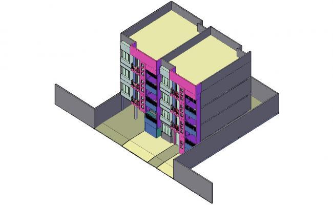 Living Apartment 3d model AutoCAD drawing