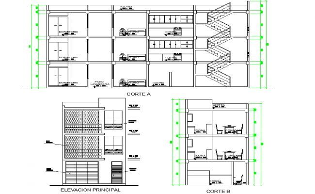 Living place section and elevation plan dwg file