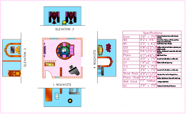 Living room interior design with specification table dwg file
