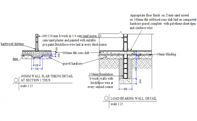 Load bearing wall detail autocad file