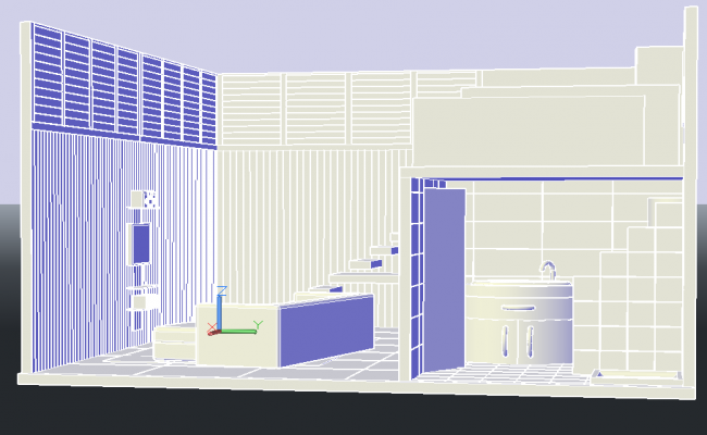 Lobby 3 d plan detail dwg file