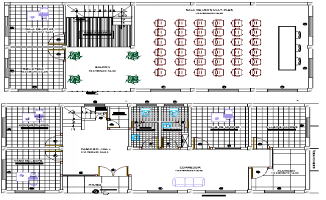 Local Community Hall Architecture Layout,  Structure Details dwg file