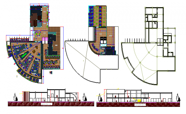 Local city market sectional and floor plan layout details dwg file