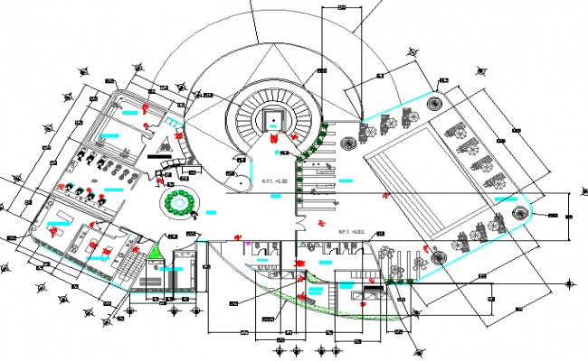 Local multi-flooring market layout structure details dwg file