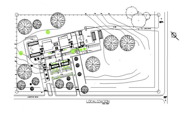 Localized hospital outdoor garden landscaping structure details dwg file