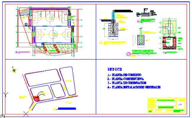 Location layout  of foot ball field and drawing of concrete for mesh post design drawing