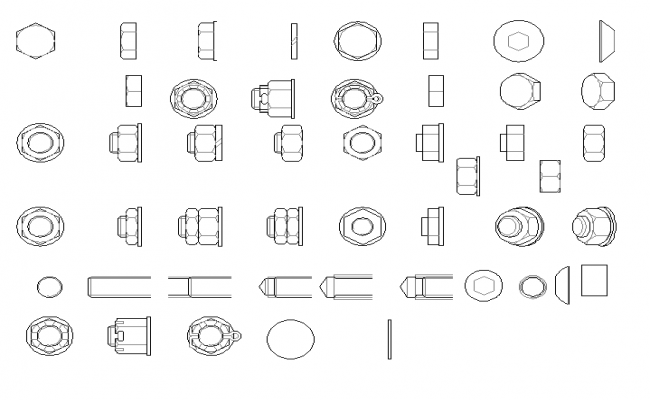 Lock nuts plan detail dwg file.
