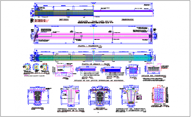 Lock type cajole box section construction view with plan and section view dwg file