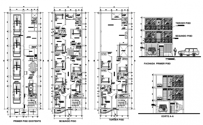 Lodging building 2d view layout plan