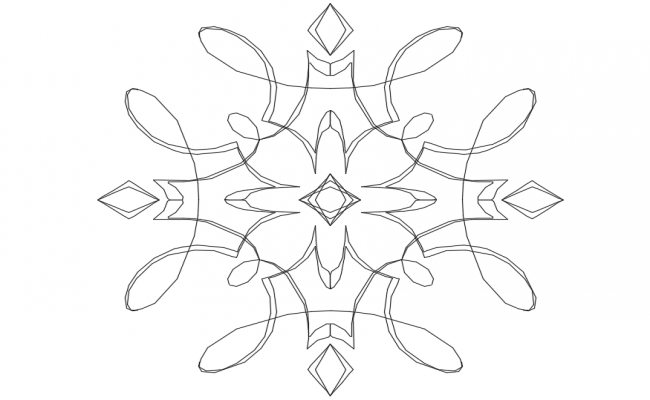 Logo flower shape design view dwg file