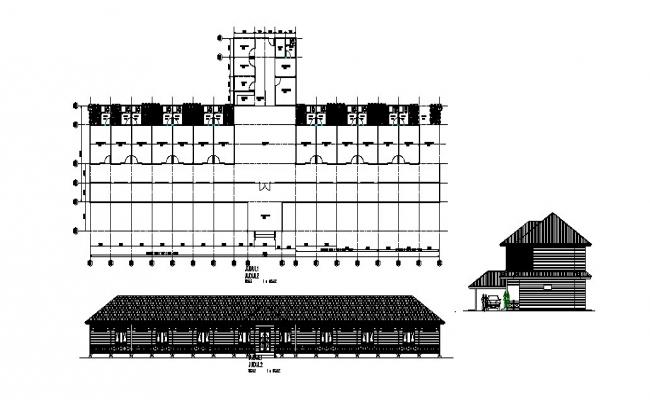 Long house main and side elevation and plan cad drawing details dwg file