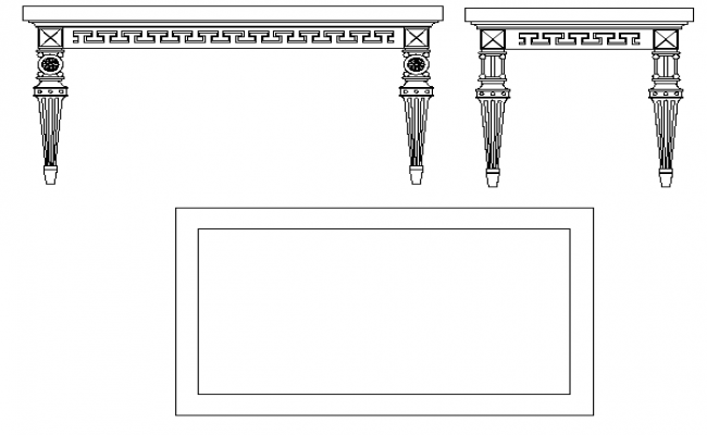 Long traditional dining table cad block design dwg file