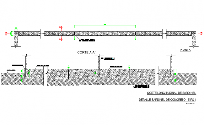 Longitudinal cut of sardinel detail dwg file,