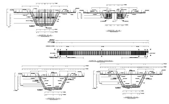 Longitudinal plan and section working plan detail dwg file