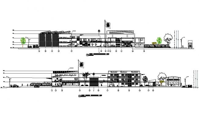 Longitudinal section school elevation detail dwg file