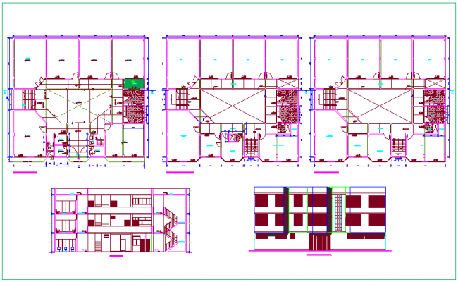Los angles collage floor plan,elevation and section view dwg file
