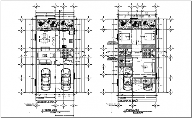 Low and high floor plan of residence area with architecture view dwg file