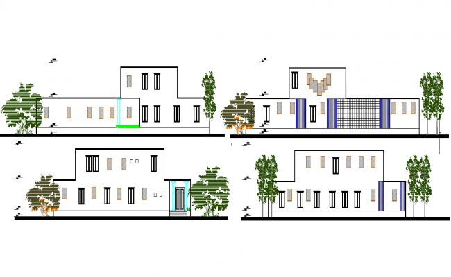 Low cost housing Elevation autocad file
