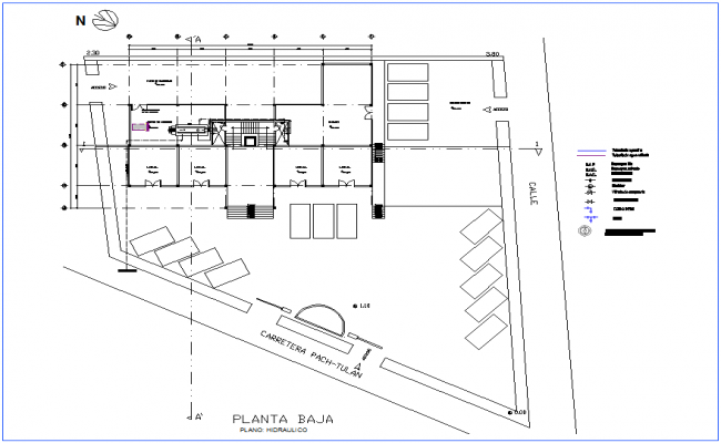 Low hydraulic plan of office premises dwg file
