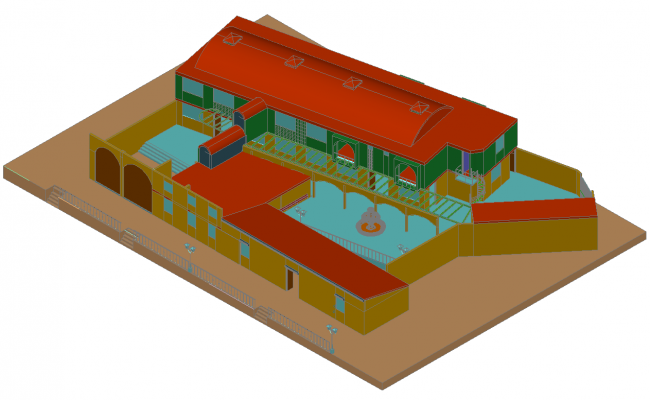 Luxuries 3d villa top view cad drawing details dwg file