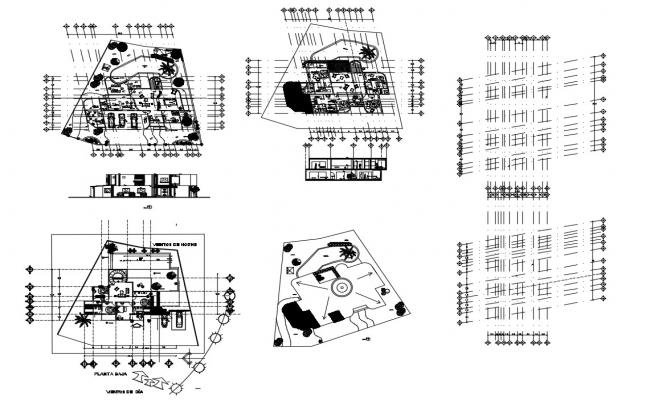 Luxuries beach house floor plan cad drawing details dwg file