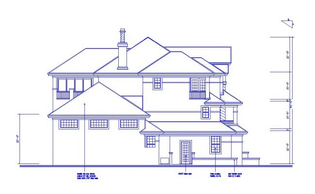 Luxuries bungalow facing elevation cad drawing details dwg file