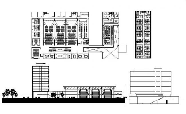 Luxuries five star hotel elevation and distribution plan cad drawing details dwg file
