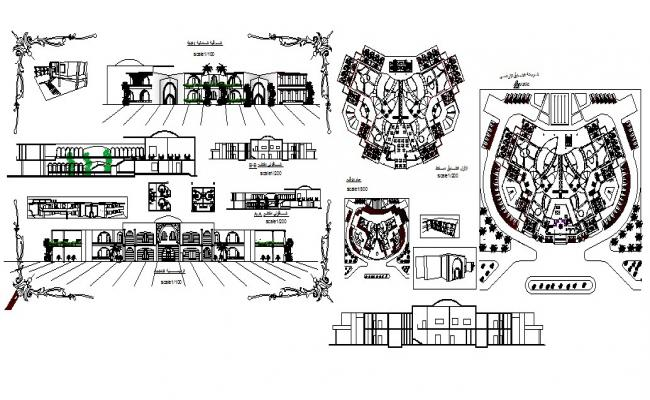 Luxuries hotel all sided elevation, section and floor plan details dwg file