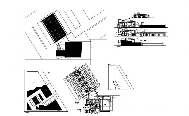 Luxuries hotel all sided section and distribution plan details dwg file