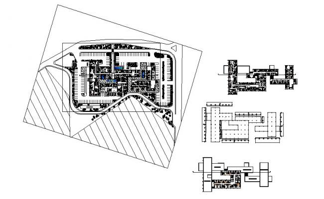 Luxuries hotel building distribution and floor plan cad drawing details dwg file