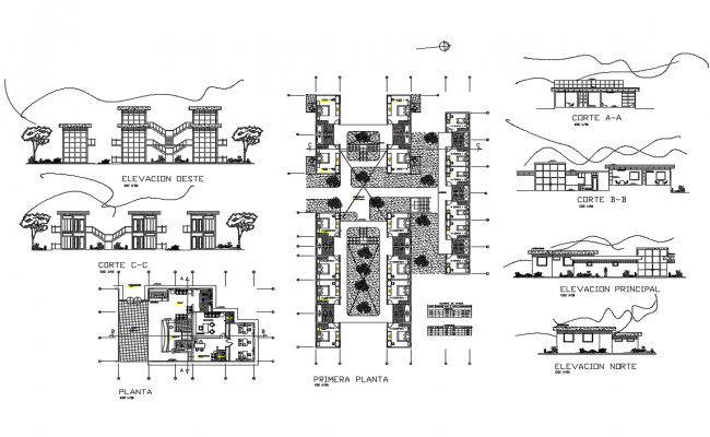 Luxuries hotel elevation, section, plan and first floor plan details dwg file