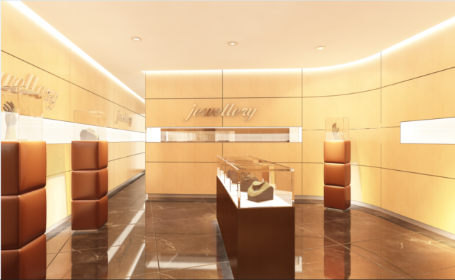 Luxuries jewelry shop interior design details dwg file