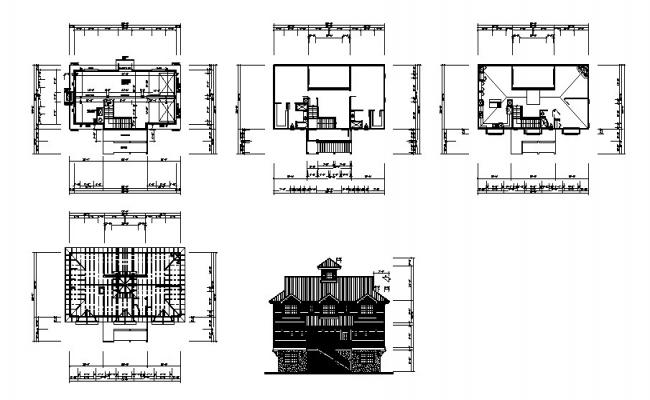 Luxuries one family bungalow main elevation and cover plan details dwg file
