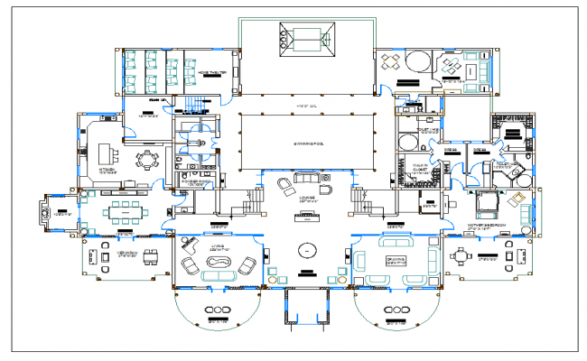 Luxuries residential housing plan view, design plan layout detail dwg file