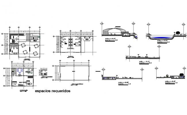 Luxuries restaurant detailed architecture project dwg file