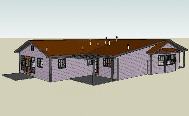 Luxuries roof type house 3d model cad drawing details skp file