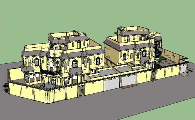 Luxuries Twin Bungalow Elevation 3d Drawing Details Skp File