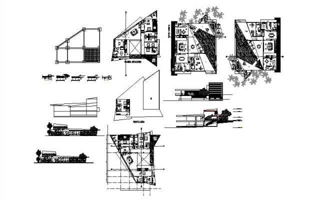 Luxuries villa elevation, section, floor plan and auto-cad details dwg file