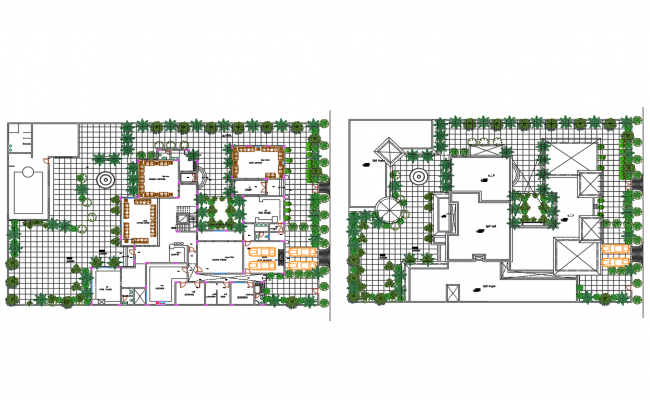 Luxuries villa ground and first floor plan cad drawing details dwg file