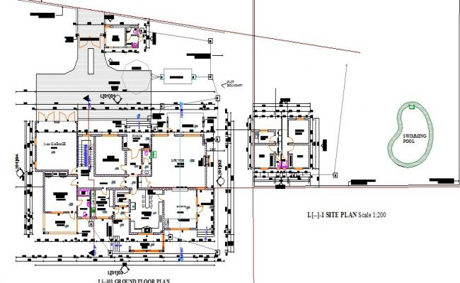 Luxuries villa house distribution plan, site plan and auto-cad details dwg file