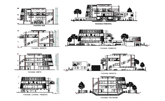 Luxuries villa type club house all sided elevation and section drawing details dwg file