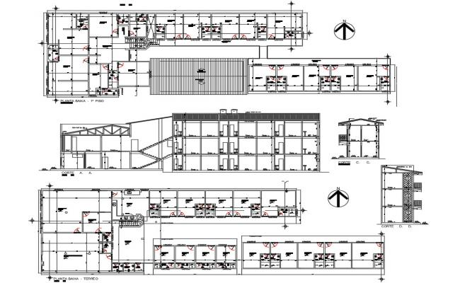 Luxuries villa type hotel section and and floor plan details dwg file