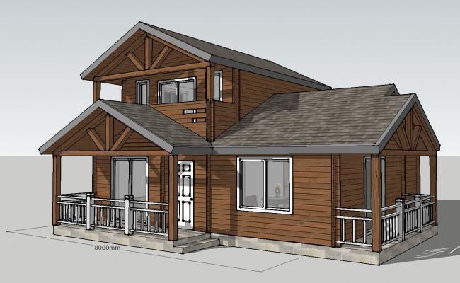 Luxuries wooden house 3d model cad drawing details skp file