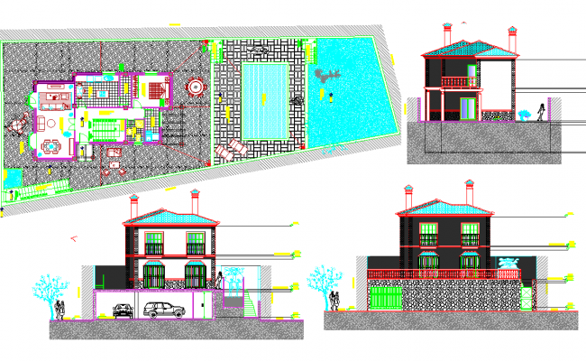 Luxurious Bungalow project dwg file