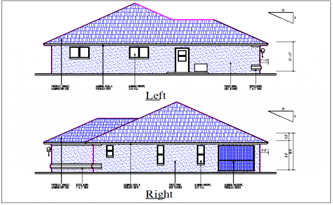 Luxurious House front and rear elevation view detail dwg file