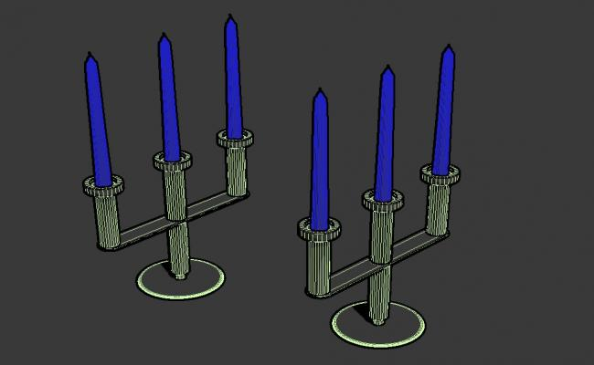 MS Candle Stand With Candle 3D MAX File Free Download